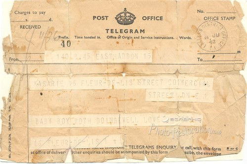 stained, creased old telegram message